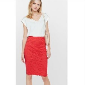 Express floral lace pencil skirt